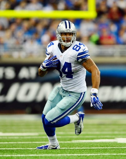 Oct 27, 2013; Detroit, MI, USA; Dallas Cowboys tight end James Hanna (84) during the game against the Detroit Lions at Ford Field. Mandatory Credit: Andrew Weber-USA TODAY Sports