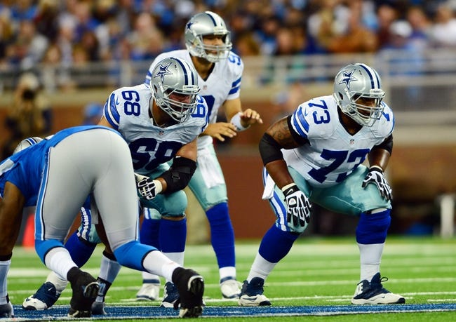 Oct 27, 2013; Detroit, MI, USA; Dallas Cowboys tackle Doug Free (68) and guard Mackenzy Bernadeau (73) during the game against the Detroit Lions at Ford Field. Mandatory Credit: Andrew Weber-USA TODAY Sports