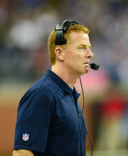 Oct 27, 2013; Detroit, MI, USA; Dallas Cowboys head coach Jason Garrett during the game against the Detroit Lions at Ford Field. Mandatory Credit: Andrew Weber-USA TODAY Sports