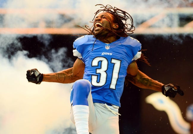 Oct 27, 2013; Detroit, MI, USA; Detroit Lions cornerback Rashean Mathis (31) before the game against the Dallas Cowboys at Ford Field. Mandatory Credit: Andrew Weber-USA TODAY Sports