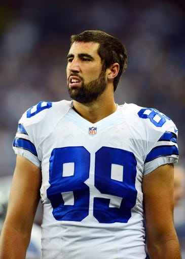 Oct 27, 2013; Detroit, MI, USA; Dallas Cowboys tight end Gavin Escobar (89) during the game against the Detroit Lions at Ford Field. Mandatory Credit: Andrew Weber-USA TODAY Sports