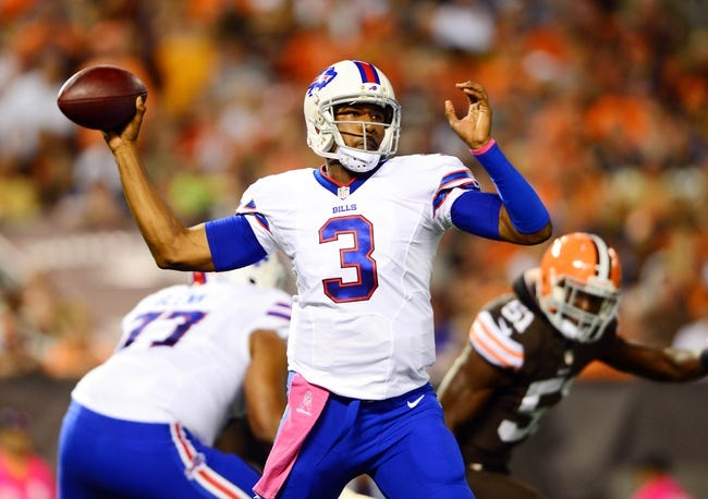 Oct 3, 2013; Cleveland, OH, USA; Buffalo Bills quarterback EJ Manuel (3) during the game against the Cleveland Browns at FirstEnergy Stadium. Mandatory Credit: Andrew Weber-USA TODAY Sports