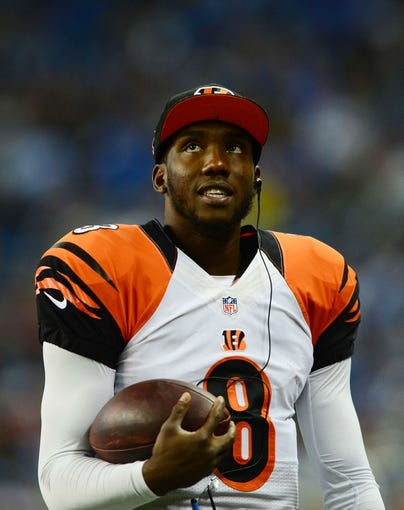 Oct 20, 2013; Detroit, MI, USA; Cincinnati Bengals quarterback Josh Johnson (8) during the game against the Detroit Lions at Ford Field. Mandatory Credit: Andrew Weber-USA TODAY Sports
