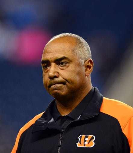 Oct 20, 2013; Detroit, MI, USA; Cincinnati Bengals head coach Marvin Lewis during the game against the Detroit Lions at Ford Field. Mandatory Credit: Andrew Weber-USA TODAY Sports