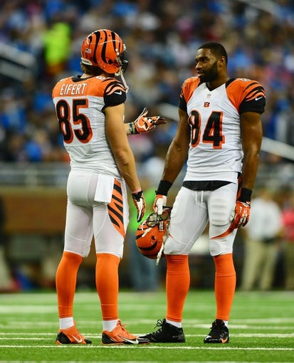 Oct 20, 2013; Detroit, MI, USA; Cincinnati Bengals tight end Tyler Eifert (85) and tight end Jermaine Gresham (84) during the game against the Detroit Lions at Ford Field. Mandatory Credit: Andrew Weber-USA TODAY Sports