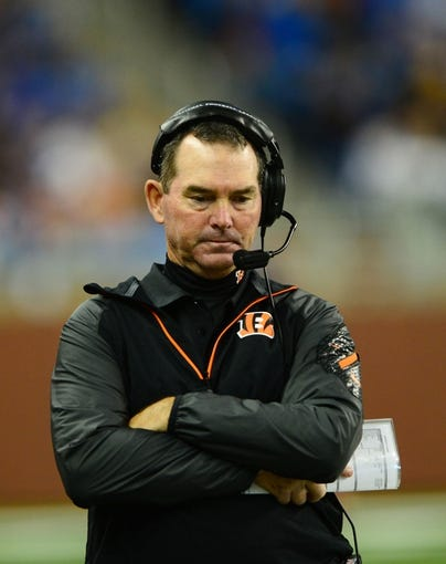 Oct 20, 2013; Detroit, MI, USA; Cincinnati Bengals defensive coordinator Mike Zimmer during the game against the Detroit Lions at Ford Field. Mandatory Credit: Andrew Weber-USA TODAY Sports