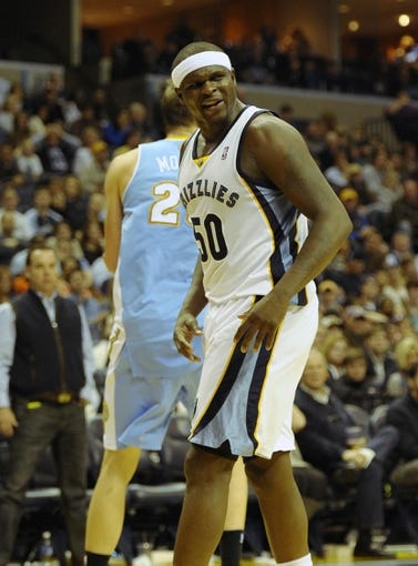 Dec 28, 2013; Memphis, TN, USA; Memphis Grizzlies power forward Zach Randolph (50) during the fourth quarter against the Denver Nuggets at FedExForum. Mandatory Credit: Justin Ford-USA TODAY Sports
