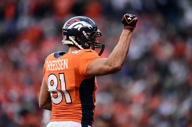 Oct 27, 2013; Denver, CO, USA; Denver Broncos tight end Joel Dreessen (81) reacts to his one yard touchdown reception in the fourth quarter against the Washington Redskins at Sports Authority Field at Mile High. Mandatory Credit: Ron Chenoy-USA TODAY Sports