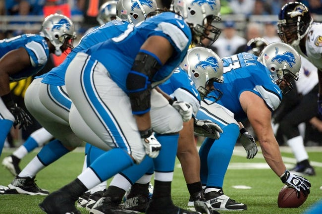 Dec 16, 2013; Detroit, MI, USA; Detroit Lions offensive line during the game against the Baltimore Ravens at Ford Field. Mandatory Credit: Tim Fuller-USA TODAY Sports