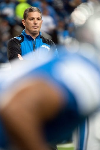 Dec 16, 2013; Detroit, MI, USA; Detroit Lions head coach Jim Schwartz before the game against the Baltimore Ravens at Ford Field. Mandatory Credit: Tim Fuller-USA TODAY Sports