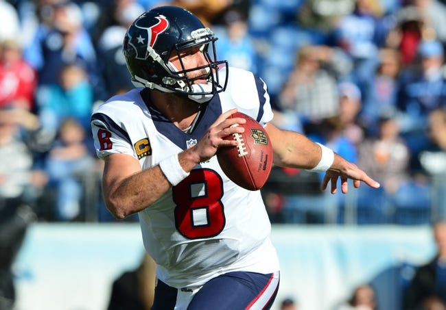 Dec 29, 2013; Nashville, TN, USA; Houston Texans quarterback Matt Schaub (8) scrambles out of pocket against the Tennessee Titans during the first  half at LP Field. The Titans won 16-10. Mandatory Credit: Don McPeak-USA TODAY Sports