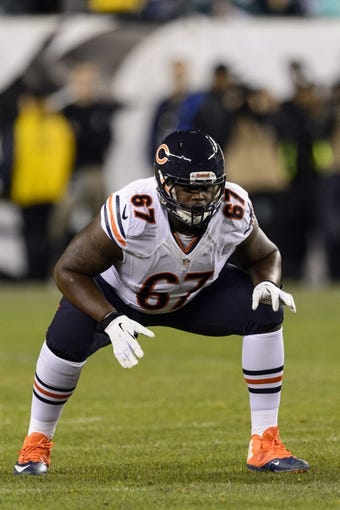 Dec 22, 2013; Philadelphia, PA, USA; Chicago Bears offensive tackle Jordan Mills (67) during the second quarter against the Philadelphia Eagles at Lincoln Financial Field. The Eagles defeated the Bears 54-11. Mandatory Credit: Howard Smith-USA TODAY Sports