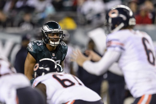 Dec 22, 2013; Philadelphia, PA, USA; Philadelphia Eagles safety Patrick Chung (23) watches Chicago Bears quarterback Jay Cutler (6) during the fourth quarter at Lincoln Financial Field. The Eagles defeated the Bears 54-11. Mandatory Credit: Howard Smith-USA TODAY Sports
