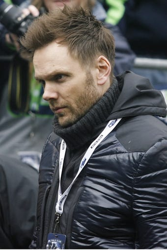 Dec 29, 2013; Seattle, WA, USA; Actor Joel McHale talks on the sideline during pre game between the Seattle Seahawks and St. Louis Rams at CenturyLink Field. Mandatory Credit: Joe Nicholson-USA TODAY Sports