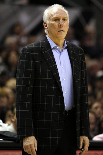 Dec 29, 2013; San Antonio, TX, USA; San Antonio Spurs head coach Gregg Popovich watches from the sideline during the second half against the Sacramento Kings at the AT&T Center. The Spurs won 112-104. Mandatory Credit: Soobum Im-USA TODAY Sports