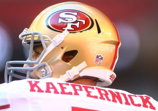 Dec 29, 2013; Phoenix, AZ, USA; San Francisco 49ers quarterback Colin Kaepernick prior to the game against the Arizons Cardinals at University of Phoenix Stadium. Mandatory Credit: Mark J. Rebilas-USA TODAY Sports