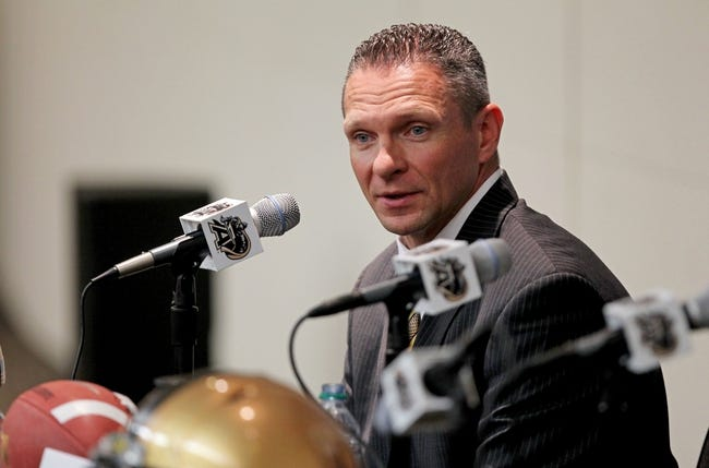 Dec 30, 2013; West Point , NY, USA; Army Black Knights head football coach Jeff Monken speaks to the media at Randall Hall in the Kimsey Athletic Center in his first press conference since being named the new head coach at West Point. Mandatory Credit: Danny Wild-USA TODAY Sports