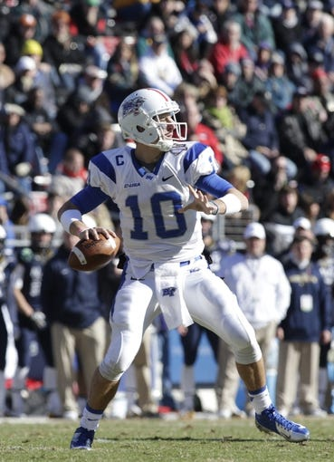 Dec 30, 2013; Fort Worth, TX, USA;  Middle Tennessee Blue Raiders quarterback Logan Kilgore (10) throws a pass in the game against the Navy Midshipmen at Amon G. Carter Stadium.  Navy beat Middle Tennessee 24-6. Mandatory Credit: Tim Heitman-USA TODAY Sports