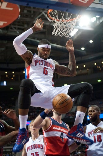 Dec 30, 2013; Auburn Hills, MI, USA; Detroit Pistons small forward Josh Smith (6) dunks during the second quarter against the Washington Wizards at The Palace of Auburn Hills. Mandatory Credit: Tim Fuller-USA TODAY Sports