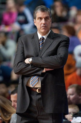 Dec 30, 2013; Auburn Hills, MI, USA; Washington Wizards head coach Randy Wittman during the second quarter against the Detroit Pistons at The Palace of Auburn Hills. Mandatory Credit: Tim Fuller-USA TODAY Sports