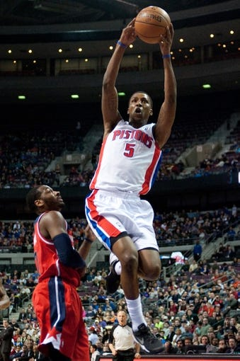 Dec 30, 2013; Auburn Hills, MI, USA; Detroit Pistons shooting guard Kentavious Caldwell-Pope (5) dunks during the second quarter against the Washington Wizards at The Palace of Auburn Hills. Mandatory Credit: Tim Fuller-USA TODAY Sports