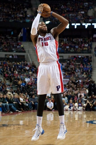 Dec 30, 2013; Auburn Hills, MI, USA; Detroit Pistons power forward Greg Monroe (10) shoots during the second quarter against the Washington Wizards at The Palace of Auburn Hills. Mandatory Credit: Tim Fuller-USA TODAY Sports