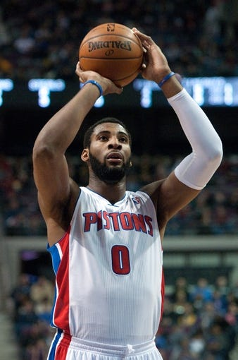 Dec 30, 2013; Auburn Hills, MI, USA; Detroit Pistons center Andre Drummond (0) shoots a free throw during the second quarter against the Washington Wizards at The Palace of Auburn Hills. Mandatory Credit: Tim Fuller-USA TODAY Sports