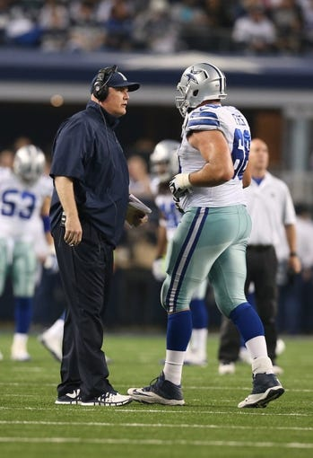 Dec 29, 2013; Arlington, TX, USA; Dallas Cowboys offensive line coach Frank Pollack on the sidelines during the game against the Philadelphia Eagles at AT&T Stadium. Mandatory Credit: Matthew Emmons-USA TODAY Sports