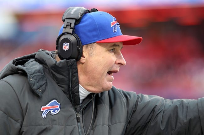 Dec 22, 2013; Orchard Park, NY, USA; Buffalo Bills head coach Doug Marrone yells to players on the field during a game against the Miami Dolphins at Ralph Wilson Stadium. Buffalo beats Miami 19 to 0.  Mandatory Credit: Timothy T. Ludwig-USA TODAY Sports