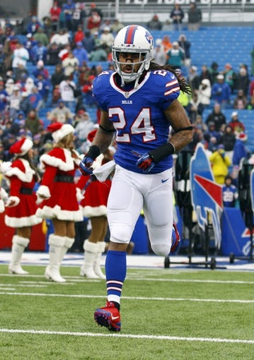 Dec 22, 2013; Orchard Park, NY, USA; Buffalo Bills cornerback Stephon Gilmore (24) takes to the field before a game against the Miami Dolphins at Ralph Wilson Stadium. Mandatory Credit: Timothy T. Ludwig-USA TODAY Sports