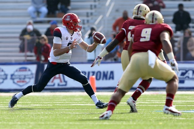 Dec 31, 2013; Shreveport, LA, USA; Arizona Wildcats quarterback B.J. Denker (7) looks to pass the ball against the Boston College Eagles in the first half at Independence Stadium. Arizona defeated Boston College 42-19. Mandatory Credit: Crystal LoGiudice-USA TODAY Sports