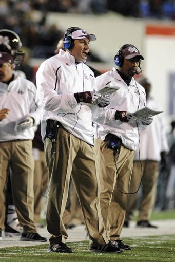 Dec 31, 2013; Memphis, TN, USA; Mississippi State Bulldogs head coach Dan Mullen during the second half against the Rice Owls at Liberty Bowl Memorial Stadium. Mississippi State Bulldogs beat Rice Owls 44 - 7. Mandatory Credit: Justin Ford-USA TODAY Sports
