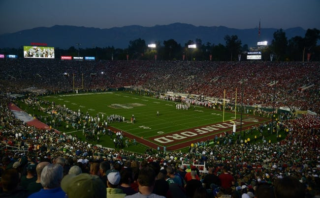 Jan 1, 2014; Pasadena, CA, USA; General view of the 100th Rose Bowl between the Stanford Cardinal and the Michigan State Spartans and the San Gabriel mountains. Mandatory Credit: Kirby Lee-USA TODAY Sports