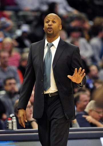 Jan 1, 2014; Denver, CO, USA; Denver Nuggets head coach Brian Shaw instructs his team in the first quarter against the Philadelphia 76ers at Pepsi Center. Mandatory Credit: Byron Hetzler-USA TODAY Sports