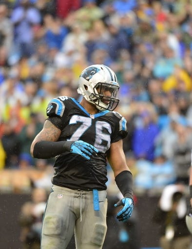 Dec 22, 2013; Charlotte, NC, USA; Carolina Panthers defensive end Greg Hardy (76) on the field in the fourth quarter. The Panthers defeated the Saint 17-13 at Bank of America Stadium. Mandatory Credit: Bob Donnan-USA TODAY Sports