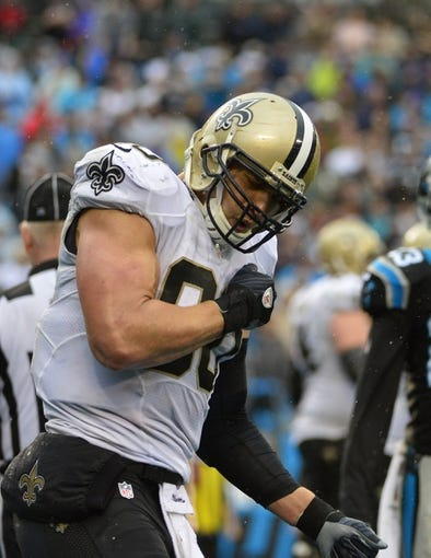 Dec 22, 2013; Charlotte, NC, USA; New Orleans Saints tight end Jimmy Graham (80) reacts after scoring a touchdown in the fourth quarter. The Panthers defeated the Saint 17-13 at Bank of America Stadium. Mandatory Credit: Bob Donnan-USA TODAY Sports
