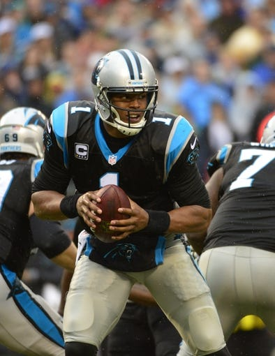Dec 22, 2013; Charlotte, NC, USA; Carolina Panthers quarterback Cam Newton (1) with the ball in the fourth quarter. The Panthers defeated the Saint 17-13 at Bank of America Stadium. Mandatory Credit: Bob Donnan-USA TODAY Sports