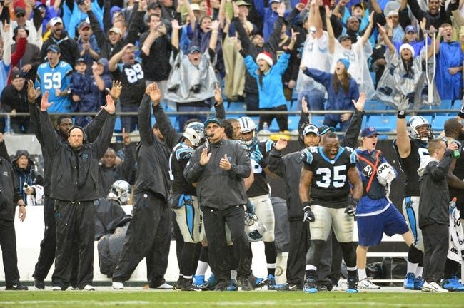 Dec 22, 2013; Charlotte, NC, USA; Carolina Panthers sideline including head coach Ron Rivera (center) react after the Panthers score the winning touchdown late in the fourth quarter. The Panthers defeated the Saints 17-13 at Bank of America Stadium. Mandatory Credit: Bob Donnan-USA TODAY Sports