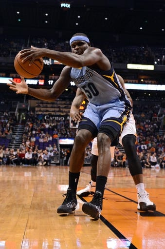 Jan 2, 2014; Phoenix, AZ, USA; Memphis Grizzlies forward Zach Randolph (50) in action against the Phoenix Suns in the first half at US Airways Center. Mandatory Credit: Jennifer Stewart-USA TODAY Sports