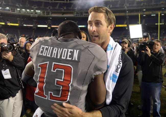 Dec 30, 2013; San Diego, CA, USA; Texas Tech Red Raiders coach Kliff Kingsbury (right) embraces linebacker Sam Eguavoen (13) after the 2013 Holiday Bowl against the Arizona State Sun Devils at Qualcomm Stadium. Texas Tech defeated Arizona State 37-23. Mandatory Credit: Kirby Lee-USA TODAY Sports