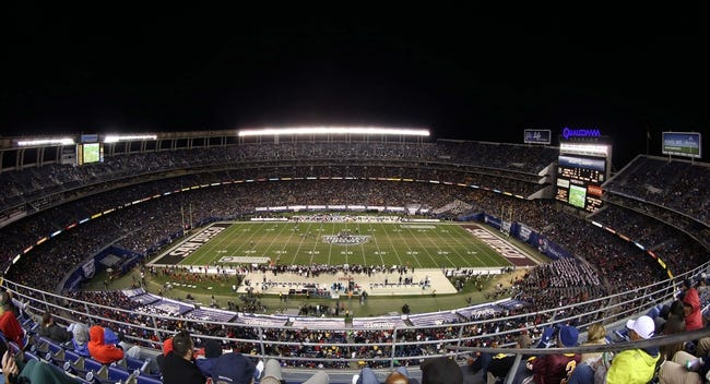 Dec 30, 2013; San Diego, CA, USA; General view of the  2013 Holiday Bowl between the Arizona State Sun Devils and the Texas Tech Red Raiders at Qualcomm Stadium. Mandatory Credit: Kirby Lee-USA TODAY Sports