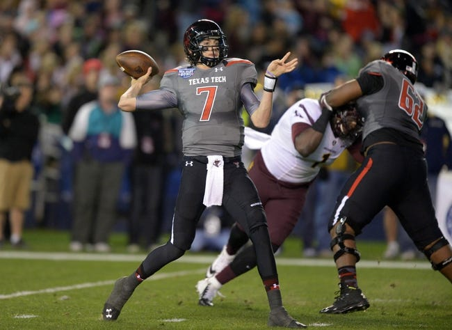 Dec 30, 2013; San Diego, CA, USA; Texas Tech Red Raiders quarterback Davis Webb (7) throws a pass during the 2013 Holiday Bowl against the Arizona State Sun Devils at Qualcomm Stadium. Mandatory Credit: Kirby Lee-USA TODAY Sports
