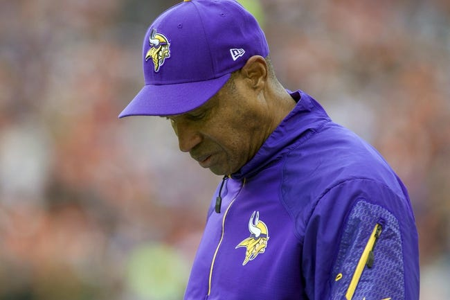 Dec 22, 2013; Cincinnati, OH, USA;  Minnesota Vikings head coach Leslie Frazier on the sideline of the game against the Cincinnati Bengals at Paul Brown Stadium. Cincinnati Bengals beat the Minnesota Vikings by the score of 42-14. Mandatory Credit: Trevor Ruszkowksi-USA TODAY Sports