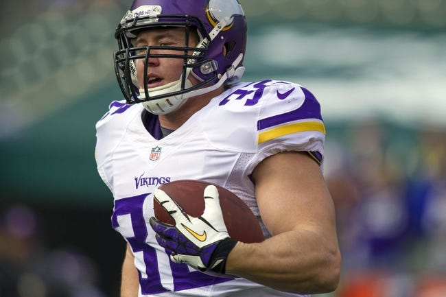 Dec 22, 2013; Cincinnati, OH, USA;  Minnesota Vikings running back Toby Gerhart (32) rushes the ball during pre game against the Cincinnati Bengals at Paul Brown Stadium. Cincinnati Bengals beat the Minnesota Vikings by the score of 42-14. Mandatory Credit: Trevor Ruszkowksi-USA TODAY Sports