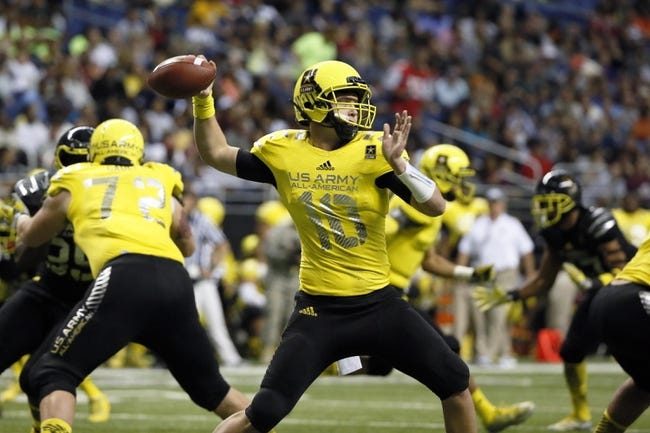 Jan 4, 2014; San Antonio, TX, USA; West quarterback Kyle Allen (10) throws a pass during U.S. Army All-American Bowl high school football game at the Alamodome. Mandatory Credit: Soobum Im-USA TODAY Sports