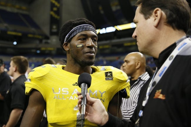 Jan 4, 2014; San Antonio, TX, USA; West linebacker Zach Whitley (1) is interviewed after winning the U.S. Army All-American Bowl high school football game at the Alamodome. The West won 28-6. Mandatory Credit: Soobum Im-USA TODAY Sports