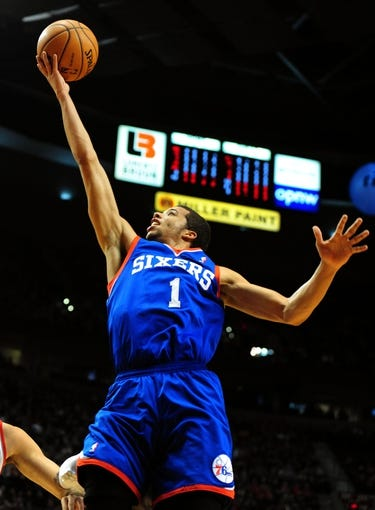 Jan. 04, 2014; Portland, OR, USA; Philadelphia 76ers point guard Michael Carter-Williams (1) drives to the basket during the first quarter of the game against the Philadelphia 76ers at the Moda Center. Mandatory Credit: Steve Dykes-USA TODAY Sports