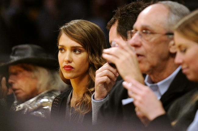 Jan 5, 2014; Los Angeles, CA, USA; American actress Jessica Alba watches the game between the Denver Nuggets and Los Angeles Lakers during the second period at Staples Center. Mandatory Credit: Kelvin Kuo-USA TODAY Sports