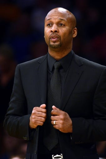 Jan 5, 2014; Los Angeles, CA, USA; Denver Nuggets head coach Brian Shaw during the game against the Los Angeles Lakers during the third period at Staples Center. The Denver Nuggets defeated the Los Angeles Lakers 137-115. Mandatory Credit: Kelvin Kuo-USA TODAY Sports
