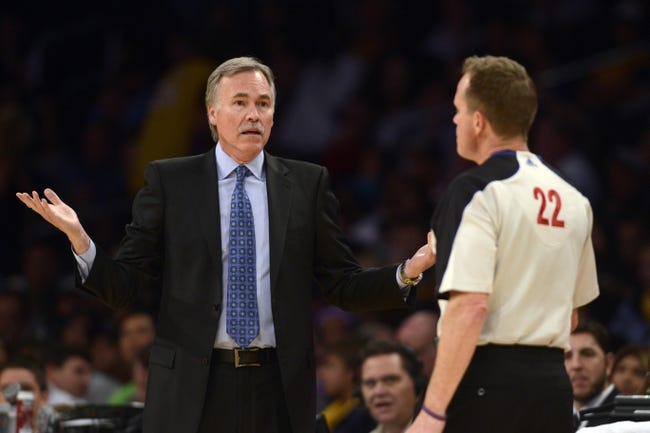 Jan 5, 2014; Los Angeles, CA, USA; Los Angeles Lakers head coach Mike D'Antoni during the game against the Denver Nuggets during the fourth period at Staples Center. The Denver Nuggets defeated the Los Angeles Lakers 137-115. Mandatory Credit: Kelvin Kuo-USA TODAY Sports